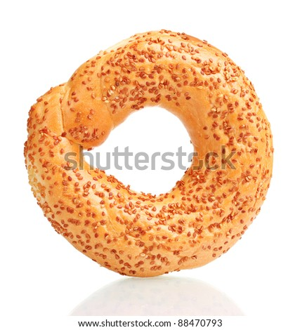 delicious bagel with sesame seeds isolated on white