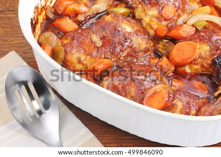 Delicious baked chicken dinner loaded with fresh vegetables, baked in one casserole