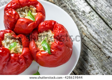 Delicious baked paprika stuffed with meat and rice, cooking recipe