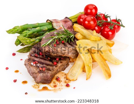 Delicious Beef steak on white background, close-up. - stock photo