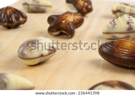 Delicious Belgian pralines in the form of seashells on wooden background