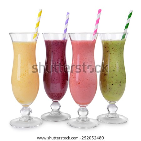 Delicious berry cocktails isolated on white - stock photo