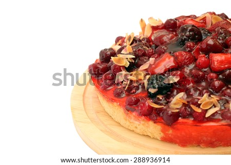 Delicious berry flan, isolated on white background - stock photo