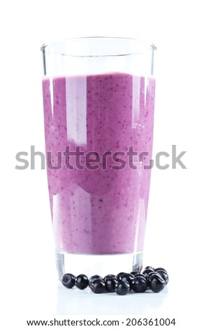 Delicious berry smoothie isolated on white - stock photo