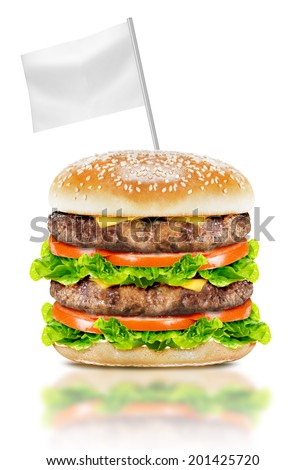 Delicious big burger with beef, tomato, cheese and lettuce with white flag on white background with clipping path. - stock photo