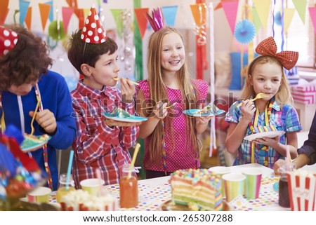 Delicious birthday cake on the party - stock photo