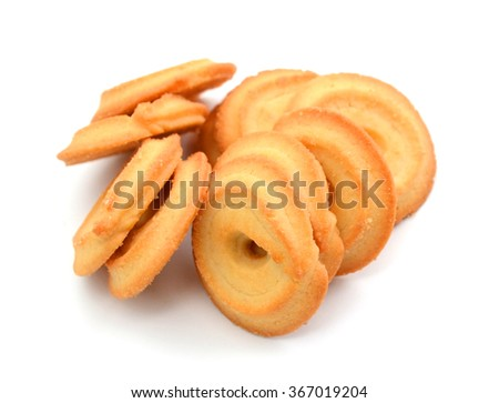 Delicious biscuits closeup on white background - stock photo
