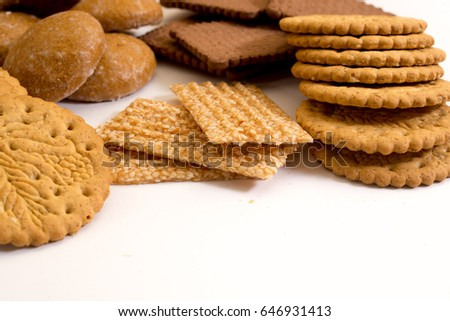 Delicious biscuits isolated on white background