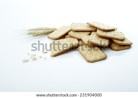 Delicious biscuits on a white background.