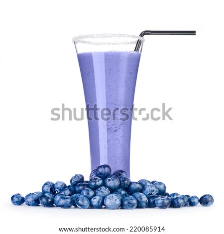 Delicious blueberry smoothie with fresh berrys Isolated on white background  - stock photo