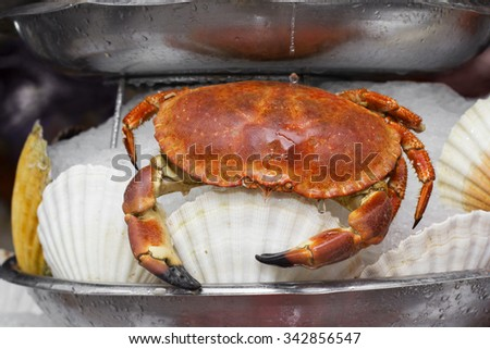Delicious boiled crab served in ice