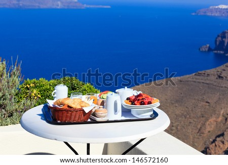delicious breakfast by the sea - stock photo