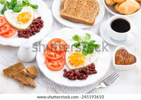 delicious breakfast for Valentine's Day, top view, horizontal - stock photo