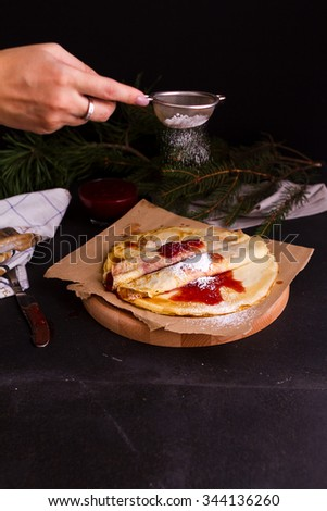 Delicious breakfast. Homemade pancakes with strawberry and bluberries - stock photo