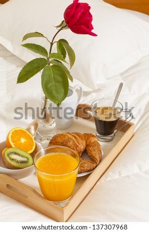 Delicious breakfast in bed prepared Mediterranean - stock photo