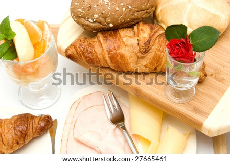Delicious breakfast isolated on white background