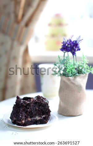 Delicious brownie cake on a plate in a cafe interior. Shallow depth of field and nice creamy bokeh.