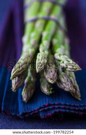 Delicious bunch of fresh green asparagus - stock photo
