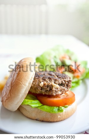 Delicious burger with fresh tomato and lettuce - stock photo