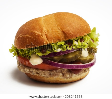 Delicious burger with tomatoes, onion, pickles and lettuce - stock photo