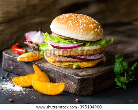 delicious burgers and fries - stock photo