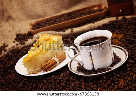 Delicious cake and hot coffee - stock photo