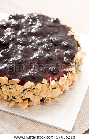 Delicious cake! Fresh and healthy! Ingredients: jam, lemon, butter, berries, cheese, coffee, chocolate, nuts