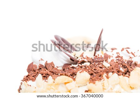 Delicious cake with chocolate and cream cheese. Macro. Photo can be used as a whole background. - stock photo