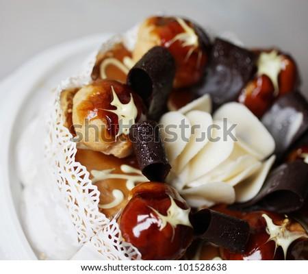delicious cake with chokolate and caramel - stock photo