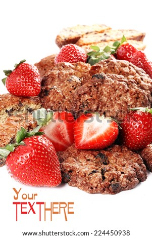 delicious cake with strawberries