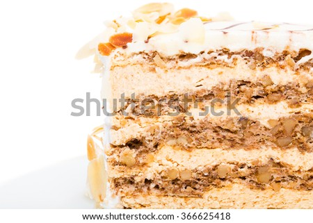 Delicious cake with walnuts and almonds. Macro. Photo can be used as a whole background.