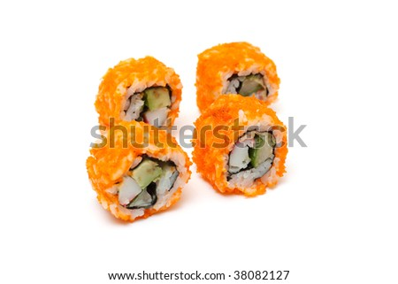 Delicious california rolls isolated on white