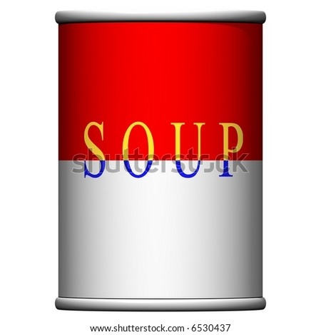Delicious can of soup isolated on white - stock photo