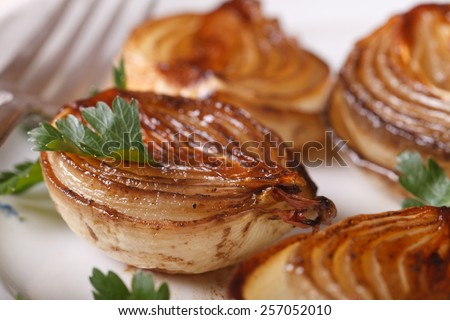 delicious caramelized onion with parsley on a white plate macro. horizontal - stock photo