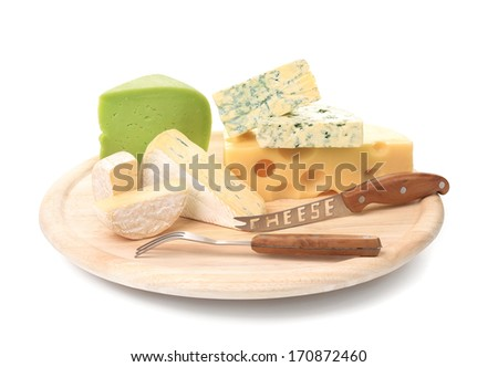 Delicious cheese and knife on wood platter. Isolated on a white background.