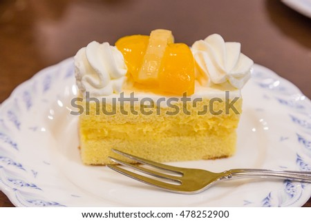 Delicious cheese cake with peach on top