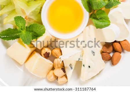 Delicious cheese platter with nuts and honey. Macro. Photo can be used as a whole background.