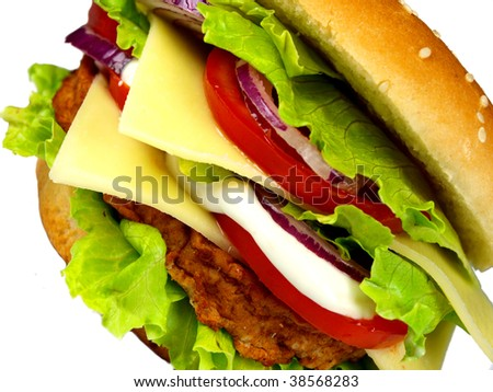delicious cheeseburger on white background