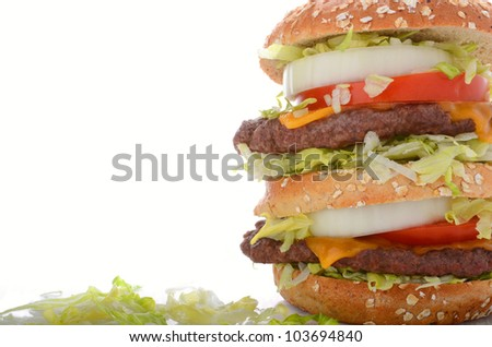 Delicious Cheeseburger with type space - stock photo