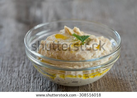 Delicious chicken pate or paste in bowl, selective focus - stock photo