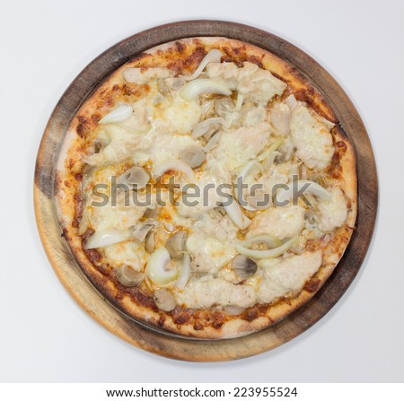 Delicious chicken pizza on white background, view top - stock photo