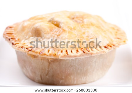 delicious chicken pot pie with kale salad - stock photo