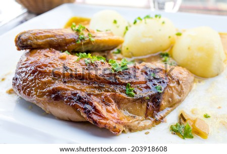 delicious Chicken with sauce and golden potatoes   - stock photo