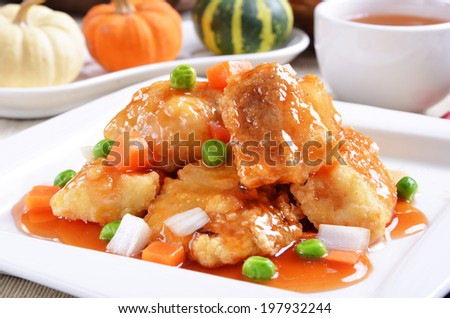 Delicious Chinese food - sweet and sour  fish fillet - stock photo