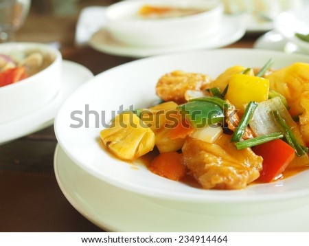 delicious Chinese meal of Sweet and Sour Fish - stock photo