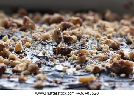 Delicious chocolate brownie. Delicious homemade chocolate cakes on top with walnuts. Shallow depth of field. - stock photo
