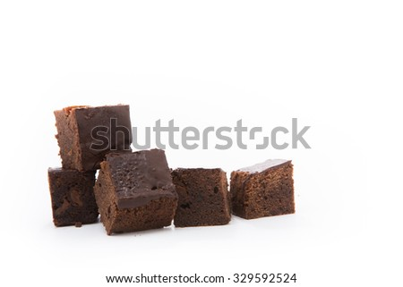 Delicious Chocolate Brownies isolated on white blackground - stock photo