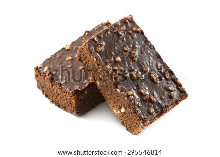 Delicious chocolate brownies on white background - stock photo