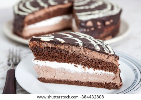 Delicious chocolate cake with chocolate sauce - stock photo