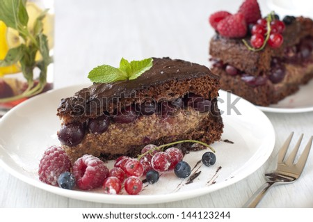 Delicious Chocolate cake with fresh berries